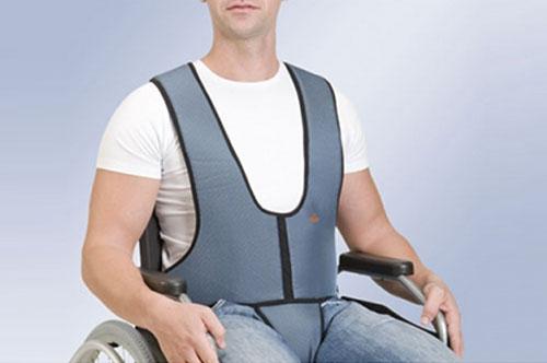 Фиксирующий жилет для кресел-колясок с ремнём фиксации в паховой части